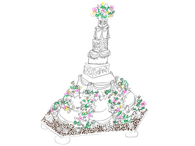 Tort na odnowienie ślubu Buddy'ego i Lisy (źródło: TLC)