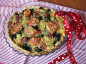 Tarta ze szpinakiem i salami (kuchnia francuska) - autor: Marta Janusz