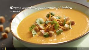 Krem z marchwi, pomarańczy i imbiru z grzankami, Zupa gulaszowa z kminkiem i pieczoną papryką